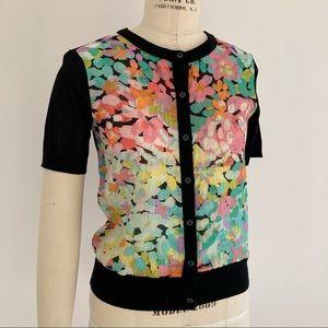 NWOT KATE SPADE Silk Floral Short Sleeve Cardigan